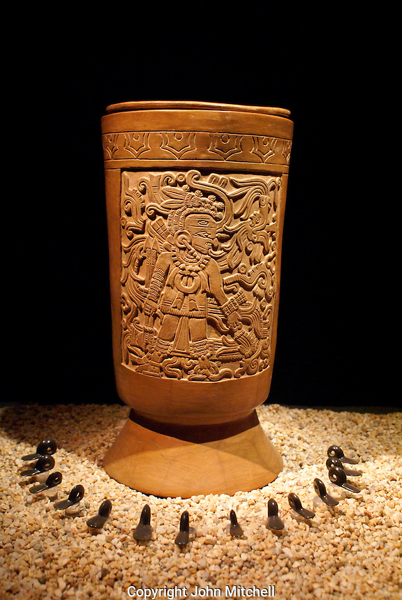 Aztec funerary urn on display at the Museo del Templo Mayor, Mexico City