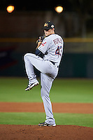 Mesa Solar Sox pitcher Michael Peoples (43), of the Cleveland Indians organization, during a game against the Scottsdale Scorpions on October 17, 2016 at Scottsdale Stadium in Scottsdale, Arizona.  Mesa defeated Scottsdale 12-2.  (Mike Janes/Four Seam Images)