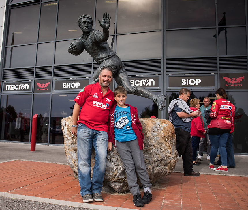 Scarlets fans outside the stadium<br /> <br /> Photographer Simon King/CameraSport<br /> <br /> Guinness Pro14 Round 1 - Scarlets v Southern Kings - Saturday 2nd September 2017 - Parc y Scarlets - Llanelli, Wales<br /> <br /> World Copyright &copy; 2017 CameraSport. All rights reserved. 43 Linden Ave. Countesthorpe. Leicester. England. LE8 5PG - Tel: +44 (0) 116 277 4147 - admin@camerasport.com - www.camerasport.com