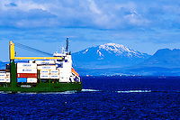 Vestmannaeyjar Islands off the south coast of Iceland. Cargo ship.