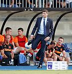 01.08.2019 Progres Niederkorn v Rangers: Steven Gerrard backheels the ball