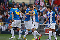 22.04.2012 MADRID, SPAIN - La Liga 11/12 match played between At. Madrid vs R.C.D. Espanyol (3-1) at Vicente Calderon stadium. the picture show RCD Espanyol players celebrating his team's goal