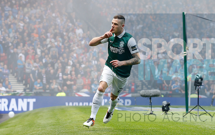 Hibernian's Anthony Stubbs celebrates his first goal during the William Hill Scottish Cup Final match at Hampden Park Stadium.  Photo credit should read: Lynne Cameron/Sportimage