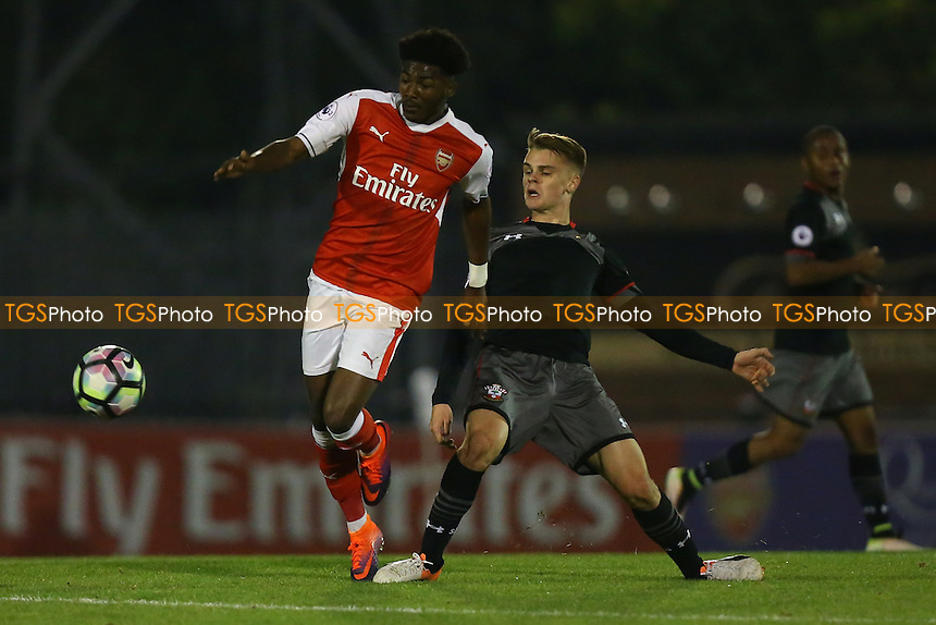 Ainsley Maitland-Niles of Arsenal and Jake Hesketh of Southampton during Arsenal Under-23 vs Southampton Under-23, Premier League 2 Football at Meadow Park on 14th October 2016