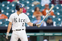 Rice Owls third baseman Shane Hoelscher #2 at bat during the NCAA baseball game against the North Carolina Tar Heels on March 1st, 2013 at Minute Maid Park in Houston, Texas. North Carolina defeated Rice 2-1. (Andrew Woolley/Four Seam Images).