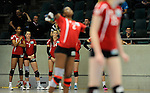Rüsselsheim, Germany, April 13: Substitute players of Rote Raben Vilsbiburg look on during play off Game 1 in the best of three series in the semifinal of the DVL (Deutsche Volleyball-Bundesliga Damen) season 2013/2014 between the VC Wiesbaden and the Rote Raben Vilsbiburg on April 13, 2014 at Grosssporthalle in Rüsselsheim, Germany. Final score 0:3 (Photo by Dirk Markgraf / www.265-images.com) *** Local caption ***