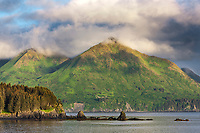 Coastal landscape along the shores of Ambercrombie State Park, Kodiak Island, Alaska.