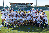 Cary, North Carolina - Sunday December 6, 2015: The Penn State Nittany Lions pose for a team photo following their win over the Duke Blue Devils at the 2015 NCAA Women's College Cup at WakeMed Soccer Park.  The Nittany Lions defeated the Blue Devils 1-0.