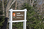 Entrance sign, Acadia National Park, Maine, USA