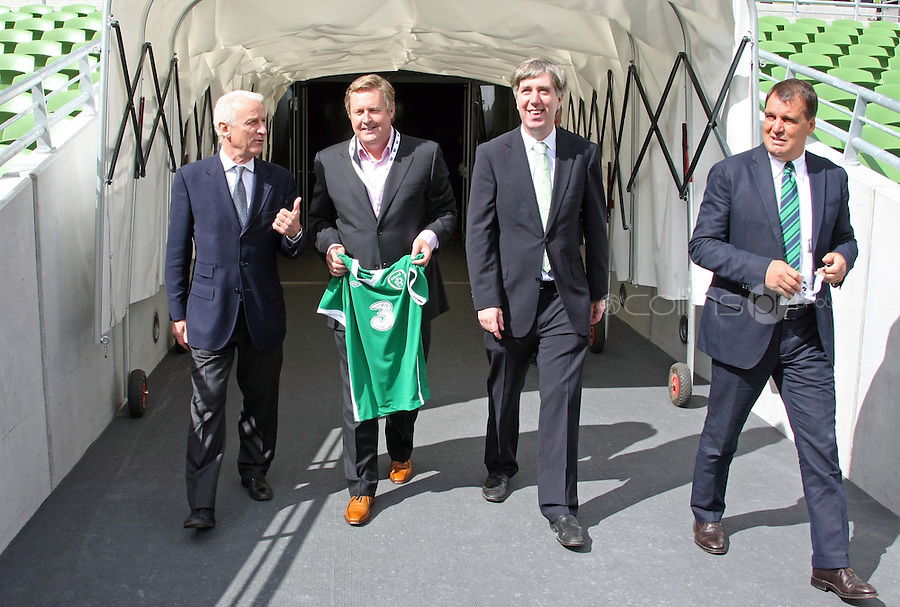 05/08/'10 Giovanni Trapattoni, Senior Irish International Manager, Robert Finnegan, CEO of 3 mobile network, John Delaney, CEO, FAI and Marco Tardelli, Assistant Manager pictured at the Aviva Stadium this morning for the announcement of a EUR 7.5 million deal over 4 years that mobile phone network, 3 will become the main sponsor of the Irish National Football team...Picture Colin Keegan, Collins, Dublin.
