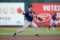 Danville Braves second baseman Greg Cullen (9) throws to first base during a game against the Johnson City Cardinals on July 28, 2018 at TVA Credit Union Ballpark in Johnson City, Tennessee.  Danville defeated Johnson City 7-4.  (Mike Janes/Four Seam Images)