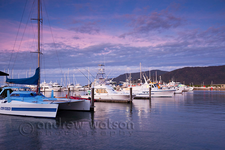 Boats in Marlin Marina at dusk.  Cairns, Queensland, Australia
