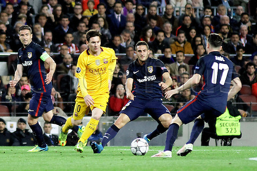 05.04.2016 Nou Camp, Barcelona, Spain. Uefa Champions League Quarter-finals 1st leg. FC Barcelona against Atletico de Madrid.  Messi challenged by Koke and Ñiguez