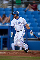 Dunedin Blue Jays first baseman Matt Dean (8) follows through on a swing during a game against the St. Lucie Mets on April 19, 2017 at Florida Auto Exchange Stadium in Dunedin, Florida.  Dunedin defeated St. Lucie 9-1.  (Mike Janes/Four Seam Images)