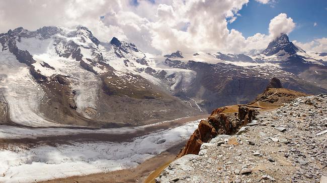 the Gornergletscher glacier viewed from Gornergrat with the Matterhorn. Zermatt .