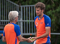 Moscow, Russia, 13 th July, 2016, Tennis,  Davis Cup Russia-Netherlands, Training Dutch team, Robin Haase (NED) with coach Martin Bohm<br /> Photo: Henk Koster/tennisimages.com