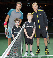 11-02-14, Netherlands,Rotterdam,Ahoy, ABNAMROWTT,Grigor Dimitrov(BUL) and Dimitry Tursunov(RUS)with escorts<br />