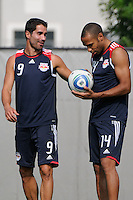 New York Red Bulls Juan Pablo Angel (9) talks with new teammate Thierry Henry (14) at the start of a New York Red Bulls practice on the campus of Montclair State University in Upper Montclair, NJ, on July 16, 2010.