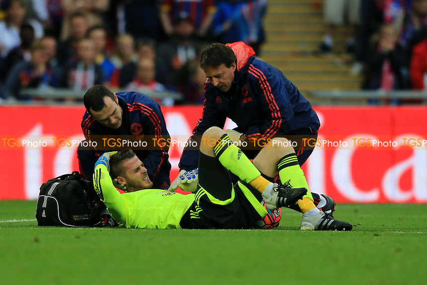 David De Gea of Manchester United is treated after a collision with Wilfried Zaha of Crystal Palace during Crystal Palace vs Manchester United, Emirates FA Cup Final Football at Wembley Stadium on 21st May 2016