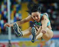 ISTAMBUL, TURQUIA, 10 DE MARCO 2012 - MUNDIAL DE ATLETISMO INDOOR -  Yuliya Tarasova atleta do Uzbequistao compete na qualificacao para mulheres no salto em distancia no Campeonato Mundial de Atletismo Indoor na Atakoy Arena, em Istambul na Turquia, neste sabado, 10. (FOTO: CHRISTIAN CHARISIUS / BRAZIL PHOTO PRESS).