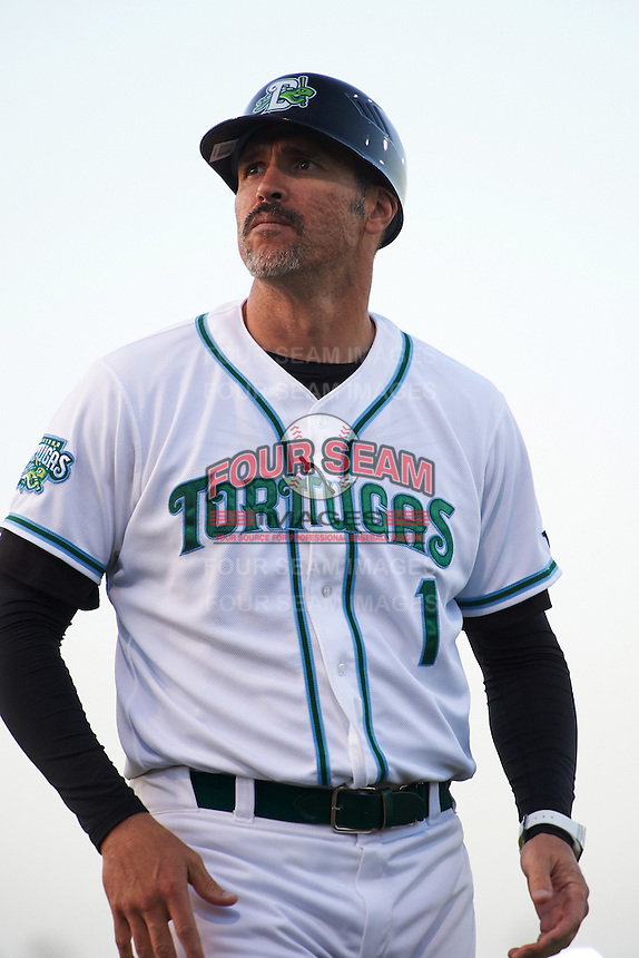 Daytona Tortugas manager Eli Marrero (1) during a game against the Fort Myers Miracle on April 17, 2016 at Jackie Robinson Ballpark in Daytona, Florida.  Fort Myers defeated Daytona 9-0.  (Mike Janes/Four Seam Images)