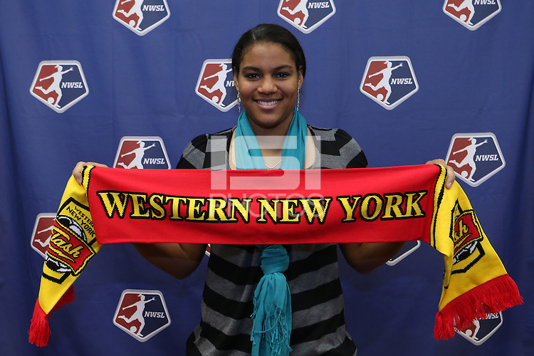 INDIANAPOLIS, IN - January 18, 2013: Adrianna Franch (right) was selected by Western New York Flash with the sixth pick in the draft. The National Women's Soccer League held its college draft at the Indiana Convention Center in Indianapolis, Indiana during the NSCAA Annual Convention.