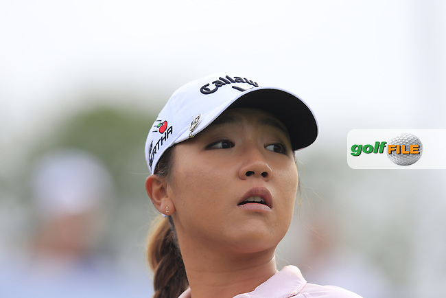 Lydia Ko (NZL) tees off the 6th tee during Sunday's Final Round of the LPGA 2015 Evian Championship, held at the Evian Resort Golf Club, Evian les Bains, France. 13th September 2015.<br /> Picture Eoin Clarke | Golffile