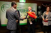 Mike Ryan presents Lelia Masaga with the Wiri Licensing Trust Manurewa Sports Supreme Award bouguet of flowers. . Inaugural Wiri Licensing Trust Manurewa Sports Awards held at the Weymouth Cosmopolitan Club on Sunday April 11th 2010.