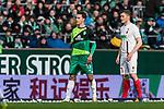 10.02.2019, Weserstadion, Bremen, GER, 1.FBL, Werder Bremen vs FC Augsburg<br /> <br /> DFL REGULATIONS PROHIBIT ANY USE OF PHOTOGRAPHS AS IMAGE SEQUENCES AND/OR QUASI-VIDEO.<br /> <br /> im Bild / picture shows<br /> Sebastian Langkamp (Werder Bremen #15)<br /> <br /> Foto &copy; nordphoto / Ewert
