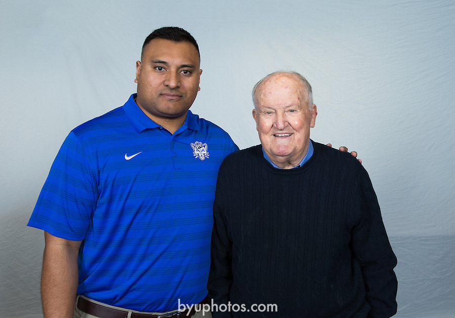 16FTB Signing Day Coaches 071<br /> <br /> 16FTB Signing Day<br /> Coaches with LaVell Edwards<br /> <br /> February 3, 2016<br /> <br /> Photography by: Mark A. Philbrick/BYU Photo<br /> <br /> Copyright BYU Photo 2016<br /> All Rights Reserved<br /> photo@byu.edu (801)422-7322<br /> <br /> 9977