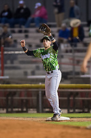 Eugene Emeralds first baseman Grant Fennell (21) prepares to catch a throw during a Northwest League game against the Salem-Keizer Volcanoes at Volcanoes Stadium on August 31, 2018 in Keizer, Oregon. The Eugene Emeralds defeated the Salem-Keizer Volcanoes by a score of 7-3. (Zachary Lucy/Four Seam Images)