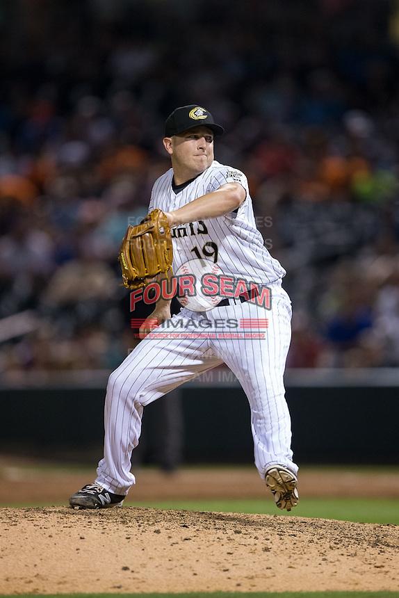 Charlotte Knights relief pitcher Blake Smith (19) in action against the Lehigh Valley Iron Pigs at BB&T BallPark on June 3, 2016 in Charlotte, North Carolina.  The Iron Pigs defeated the Knights 6-4.  (Brian Westerholt/Four Seam Images)