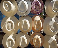 Panama style straw hats or jipijapa hats for sale in Merida, Yucatan, Mexico