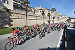 The peloton in action during Stage 5 of the Race of the Two Seas, the 54th Tirreno-Adriatico 2019, running 180km from Colli al Matauro to Recanati, Italy. 17th March 2019.<br /> Picture: LaPresse/Fabio Ferrari | Cyclefile<br /> <br /> <br /> All photos usage must carry mandatory copyright credit (© Cyclefile | LaPresse/Fabio Ferrari)