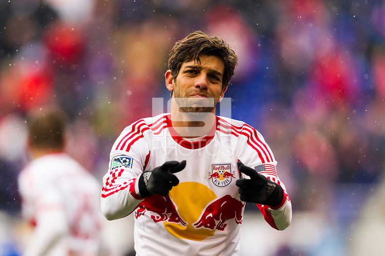 Juninho (8) of the New York Red Bulls looks for a call. The New York Red Bulls and D. C. United played to a 0-0 tie during a Major League Soccer (MLS) match at Red Bull Arena in Harrison, NJ, on March 16, 2013.
