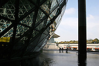 CHINA. Shanghai. Outside view of the Shanghai Science and Technology Museum (?????; pinyin: Shàngh?i ke¯jì gu?n) is a large museum in Pudong, Shanghai, close to Century Park, the largest park of the city. The construction of the museum cost 1,75 billion RMB, and the floor area is 98 000m2 .2008..