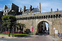 Gate and Ramparts bordering the walled city, Saint-Malo, Brittany, France.