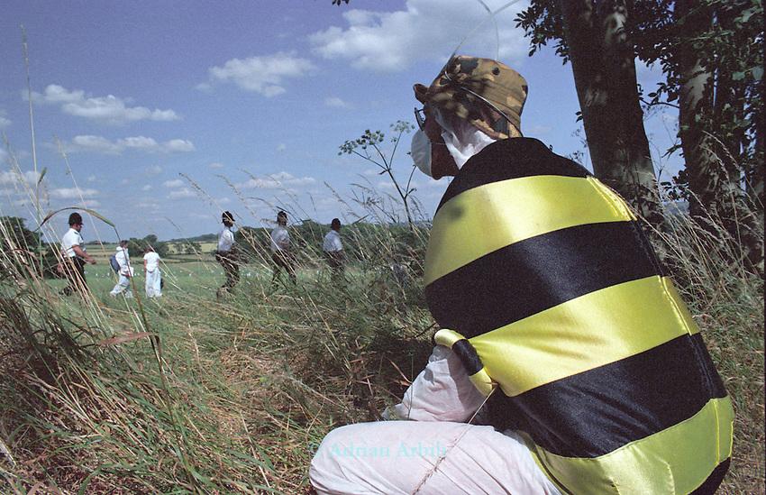Anti GM protesters  destroy a field of test  GM rape seed, Watlington, Oxon