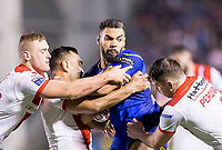 Picture by Allan McKenzie/SWpix.com - 09/03/2018 - Rugby League - Betfred Super League - Warrington Wolves v St Helens - Halliwell Jones Stadium, Warrington, England - Warrington's Ryan Atkins is tackled by St Helens's John Taia & Mark Percival.
