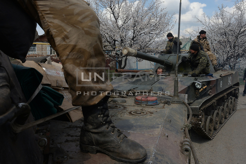 Ukrainian tanks are being blocked by local citizens near Kramatorsk city during the anti-terrorist operation.