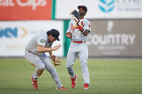 Johnson City Cardinals right fielder Carlos Soler (13) catches a fly ball in front of second baseman Chandler Redmond (25) during the game against the Burlington Royals at Burlington Athletic Stadium on September 4, 2019 in Burlington, North Carolina. The Cardinals defeated the Royals 8-6 to win the 2019 Appalachian League Championship. (Brian Westerholt/Four Seam Images)
