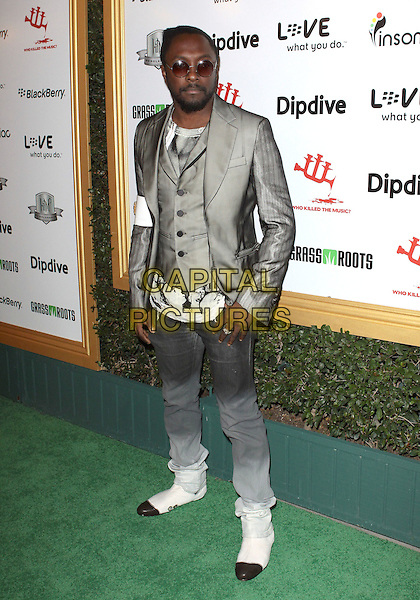 WILL.I.AM of the Black Eyed Peas (William James Adams, Jr.).The First Annual Data Awards held at The Hollywood Palladium in Hollywood, California, USA..January 29th 2010.full length suit jacket blazer waistcoat trousers white boots tie dye ombre grey gray silver sunglasses shades .CAP/ADM/TC.©T.Conrad/Admedia/Capital Pictures
