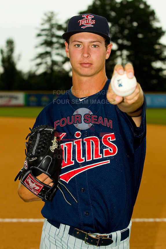 Elizabethton Twins pitcher Stephen Gonsalves (49) poses for a photo prior to the game against the Burlington Royals at Burlington Athletic Park on August 10, 2013 in Burlington, North Carolina.  (Brian Westerholt/Four Seam Images)