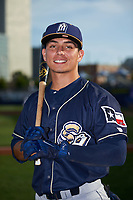 San Antonio Missions second baseman Luis Urias (3) poses for a photo before a game against the Tulsa Drillers on June 1, 2017 at ONEOK Field in Tulsa, Oklahoma.  Tulsa defeated San Antonio 5-4 in eleven innings.  (Mike Janes/Four Seam Images)