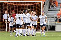 Houston, TX - Thursday Aug. 18, 2016: Christine Nairn celebrates scoring during a regular season National Women's Soccer League (NWSL) match between the Houston Dash and the Washington Spirit at BBVA Compass Stadium.