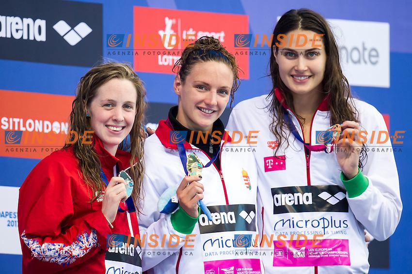 HOSSZU Katinka HUN gold medal, MILEY Hannah GBR silver medal, JAKABOS Zsuzsanna HUN bronze medal<br /> London, Queen Elizabeth II Olympic Park Pool <br /> LEN 2016 European Aquatics Elite Championships <br /> Swimming<br /> Women's 400m medley final <br /> Day 08 16-05-2016<br /> Photo Giorgio Perottino/Deepbluemedia/Insidefoto