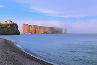 Perc&eacute; Rock or Le Rocher Perc&eacute; in the Atlantic Ocean<br /> Perc&eacute;<br /> Quebec<br /> Canada