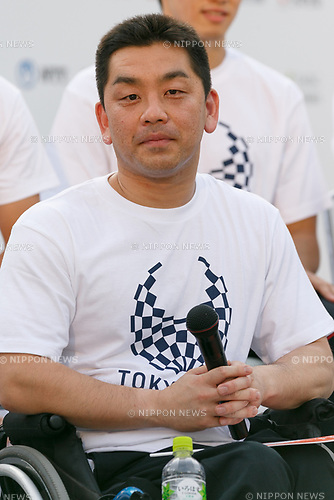 Japan's Para-badminton player Osamu Nagashima attends the 3 Years to Go! ceremony for the Tokyo 2020 Paralympic games at Urban Dock LaLaport Toyosu on August 25, 2017. The Games are set to start on August 25th 2020. (Photo by Rodrigo Reyes Marin/AFLO)