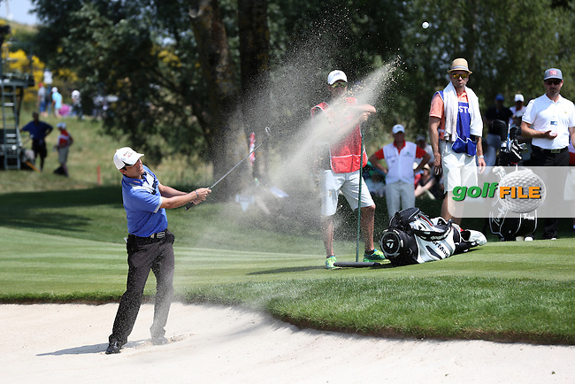 Felipe Aguilar (CHI) in the bunker on the 3rd during Round Three of the 2015 Alstom Open de France, played at Le Golf National, Saint-Quentin-En-Yvelines, Paris, France. /04/07/2015/. Picture: Golffile   David Lloyd<br /> <br /> All photos usage must carry mandatory copyright credit (&copy; Golffile   David Lloyd)