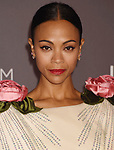 LOS ANGELES, CA - NOVEMBER 04: Actor Zoe Saldana attends the 2017 LACMA Art + Film Gala Honoring Mark Bradford and George Lucas presented by Gucci at LACMA on November 4, 2017 in Los Angeles, California.